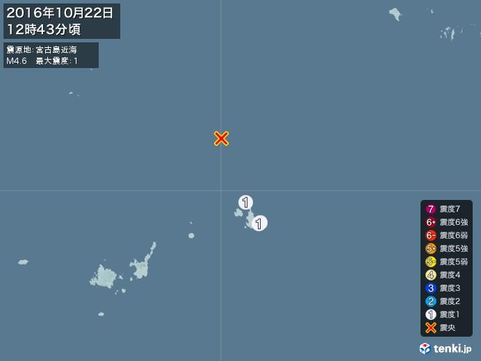 地震情報(2016年10月22日12時43分発生)