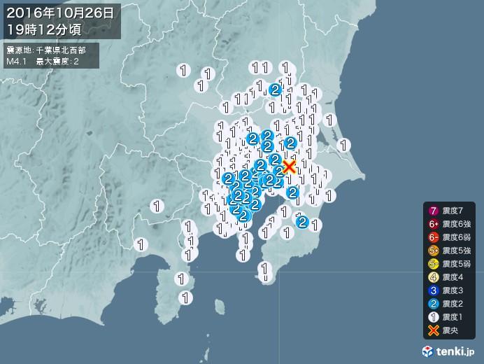 地震情報(2016年10月26日19時12分発生)