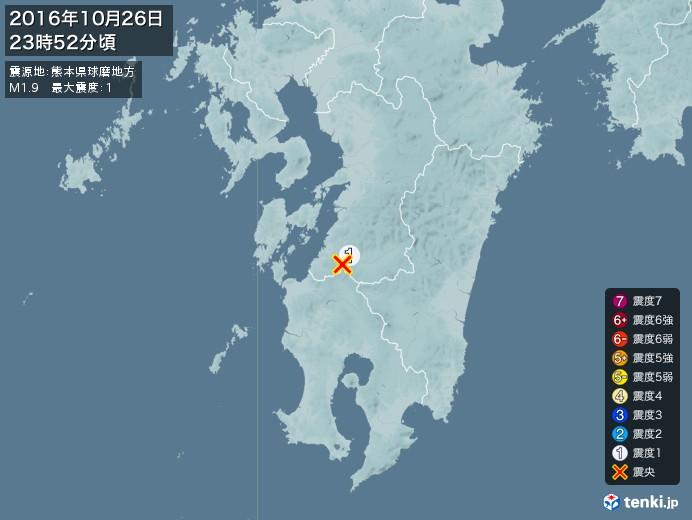 地震情報(2016年10月26日23時52分発生)