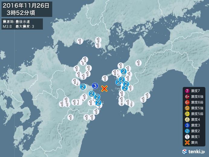 地震情報(2016年11月26日03時52分発生)