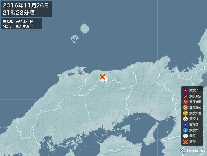 地震情報(2016年11月26日21時28分発生)