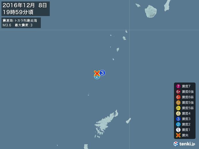 地震情報(2016年12月08日19時59分発生)