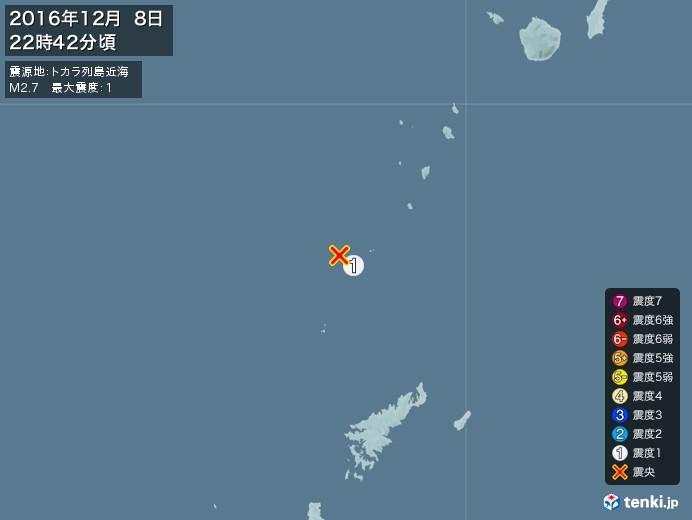 地震情報(2016年12月08日22時42分発生)