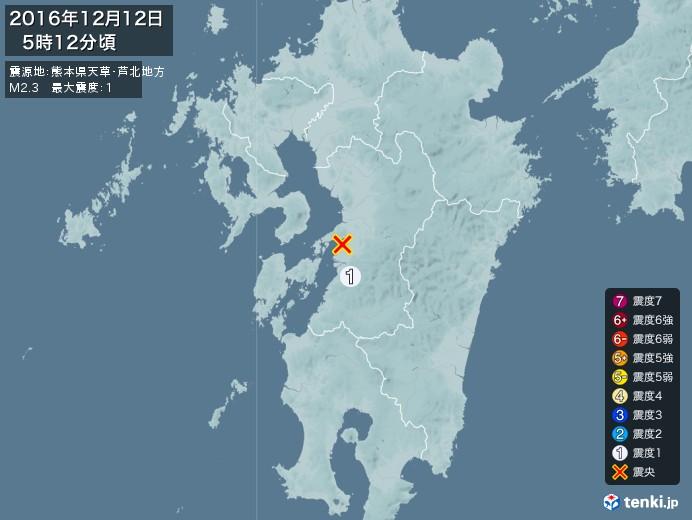 地震情報(2016年12月12日05時12分発生)