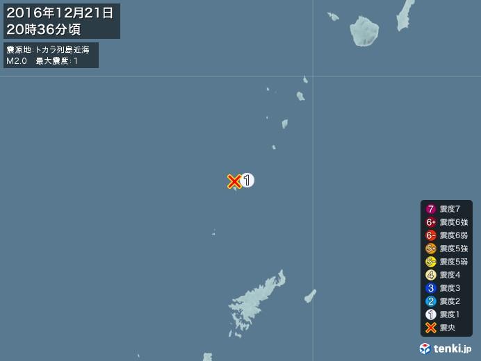 地震情報(2016年12月21日20時36分発生)