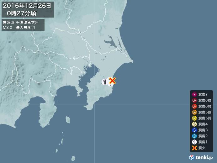 地震情報(2016年12月26日00時27分発生)
