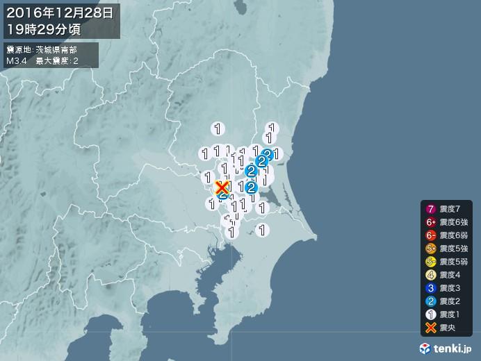 地震情報(2016年12月28日19時29分発生)