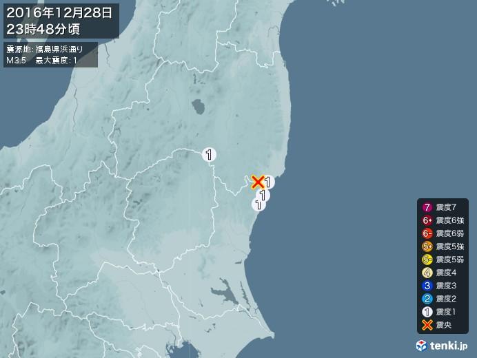 地震情報(2016年12月28日23時48分発生)