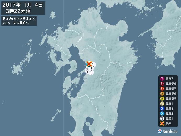 地震情報(2017年01月04日03時22分発生)