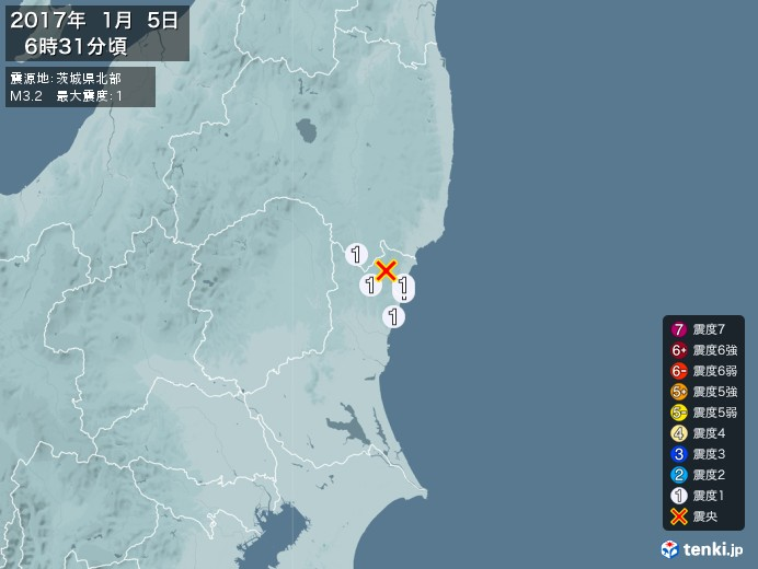 地震情報(2017年01月05日06時31分発生)