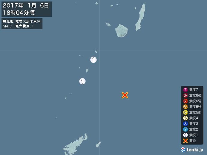 地震情報(2017年01月06日18時04分発生)