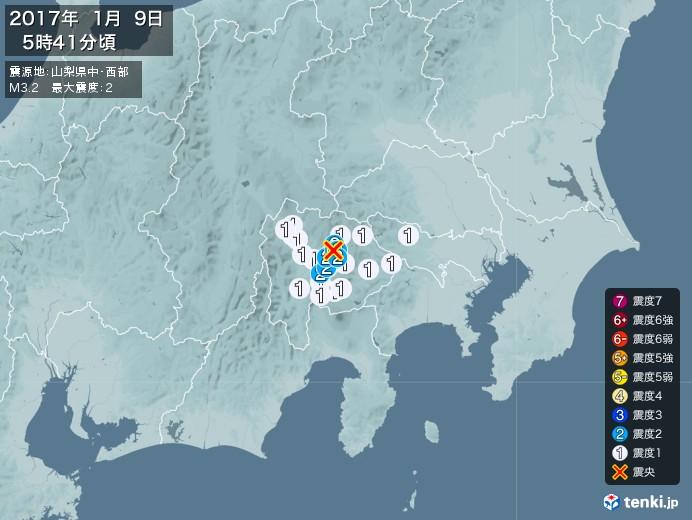 地震情報(2017年01月09日05時41分発生)