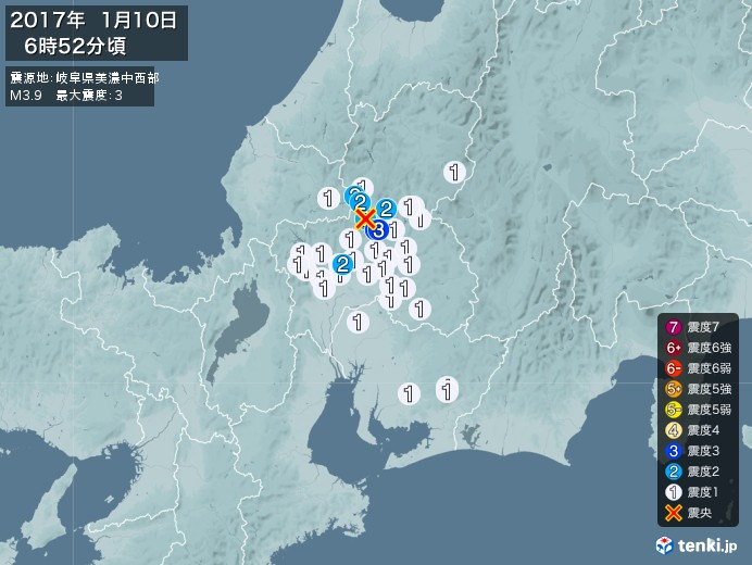 地震情報(2017年01月10日06時52分発生)