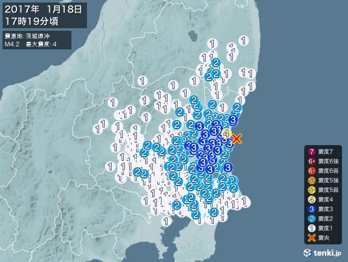 地震情報(2017年01月18日17時19分発生)