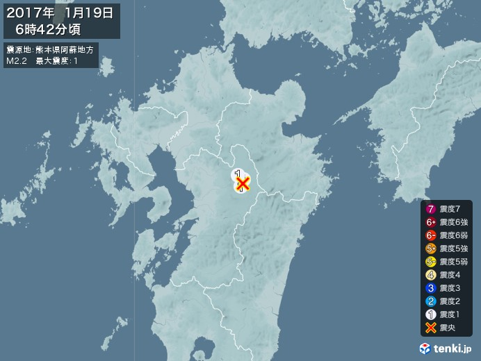 地震情報(2017年01月19日06時42分発生)