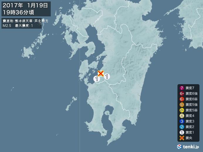 地震情報(2017年01月19日19時36分発生)
