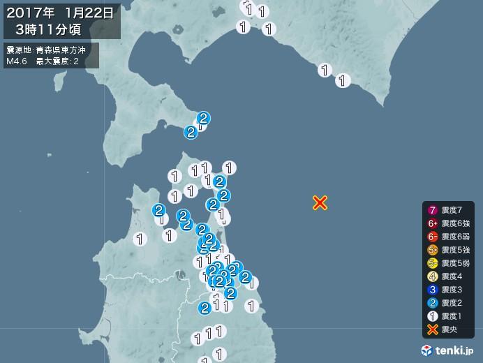 地震情報(2017年01月22日03時11分発生)