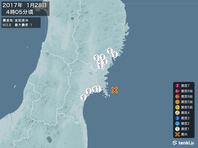 地震情報(2017年01月28日04時05分発生)