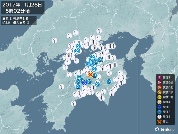 地震情報(2017年01月28日05時02分発生)