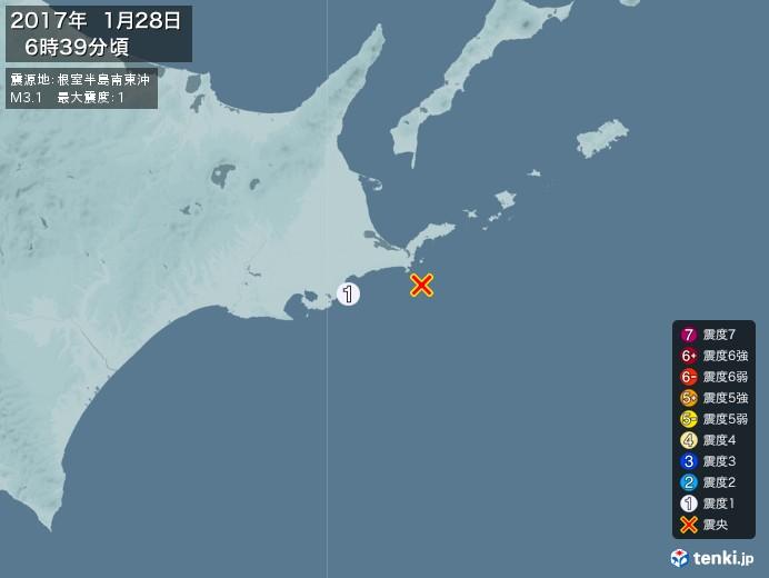 地震情報(2017年01月28日06時39分発生)