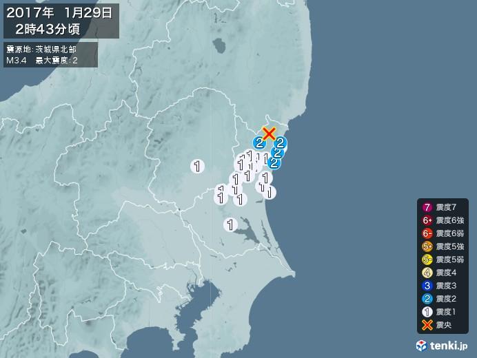 地震情報(2017年01月29日02時43分発生)