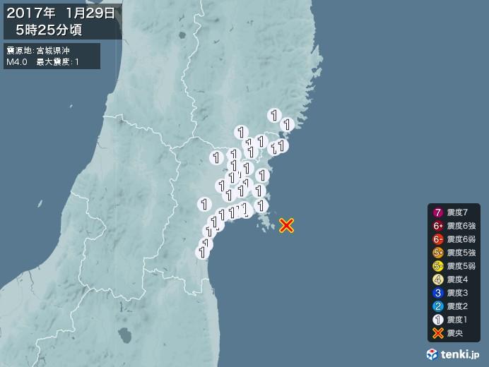地震情報(2017年01月29日05時25分発生)