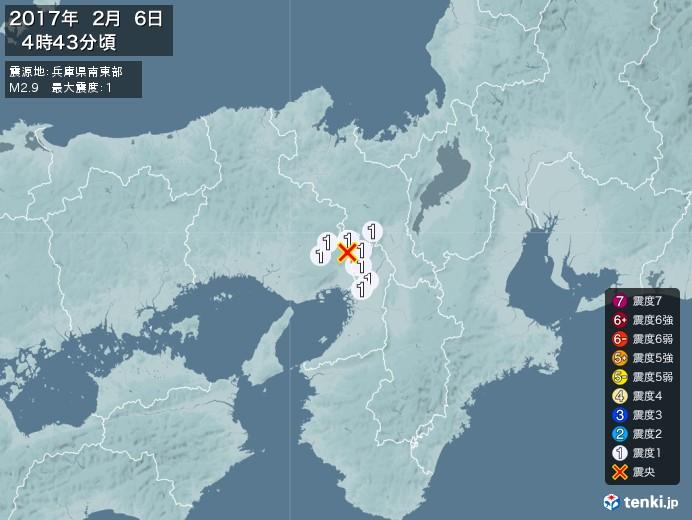 地震情報(2017年02月06日04時43分発生)