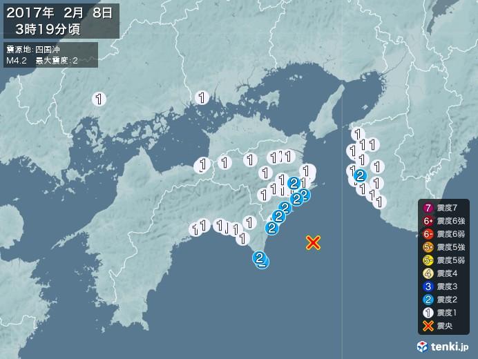 地震情報(2017年02月08日03時19分発生)