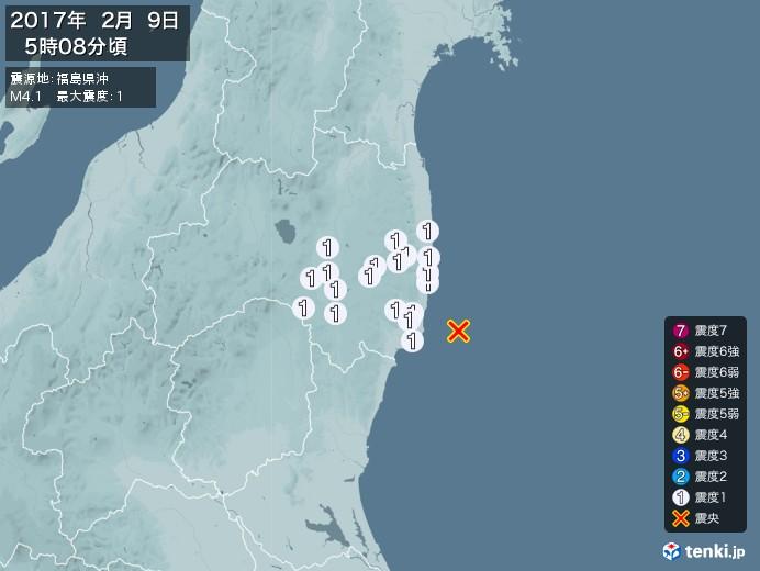 地震情報(2017年02月09日05時08分発生)