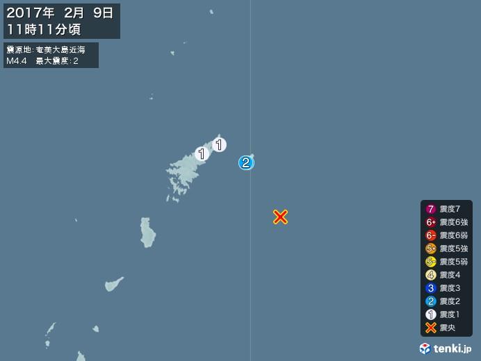 地震情報(2017年02月09日11時11分発生)