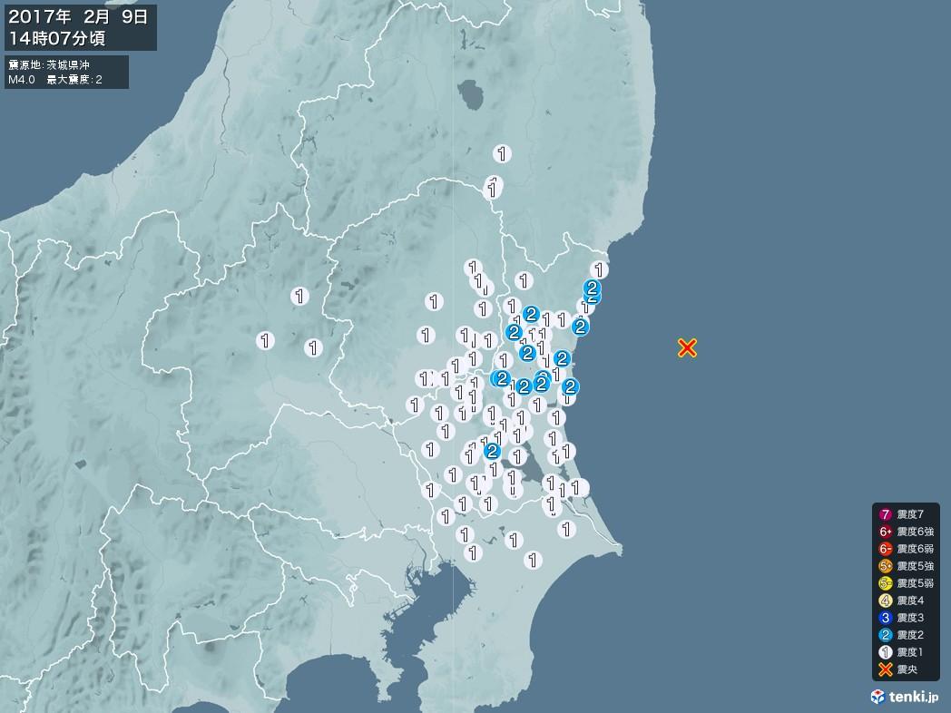 地震情報 2017年02月09日 14時07分頃発生 最大震度:2 震源地:茨城県沖(拡大画像)