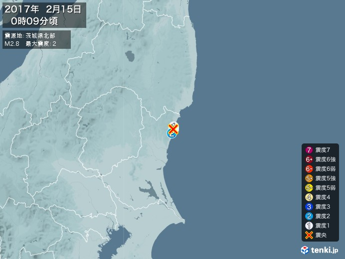 地震情報(2017年02月15日00時09分発生)