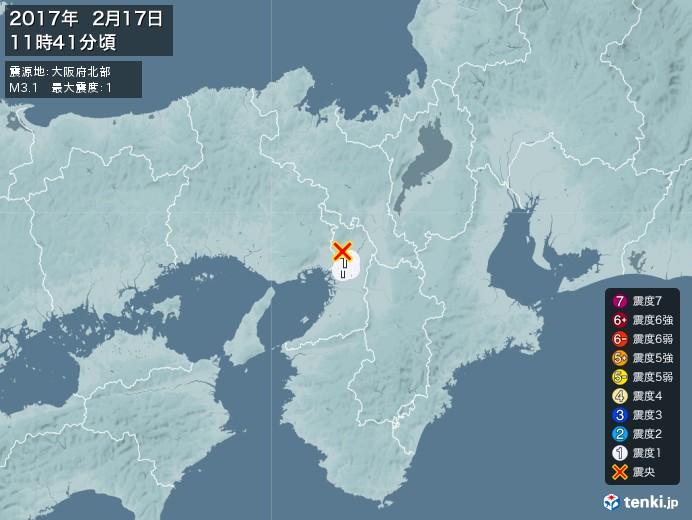 地震情報(2017年02月17日11時41分発生)