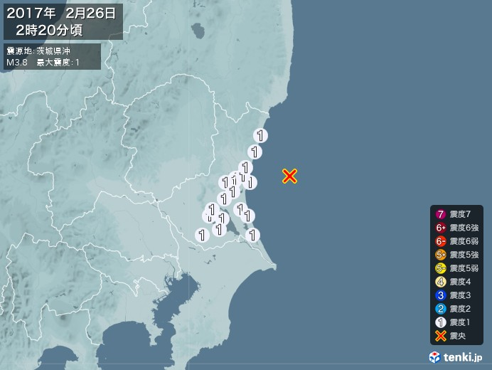 地震情報(2017年02月26日02時20分発生)