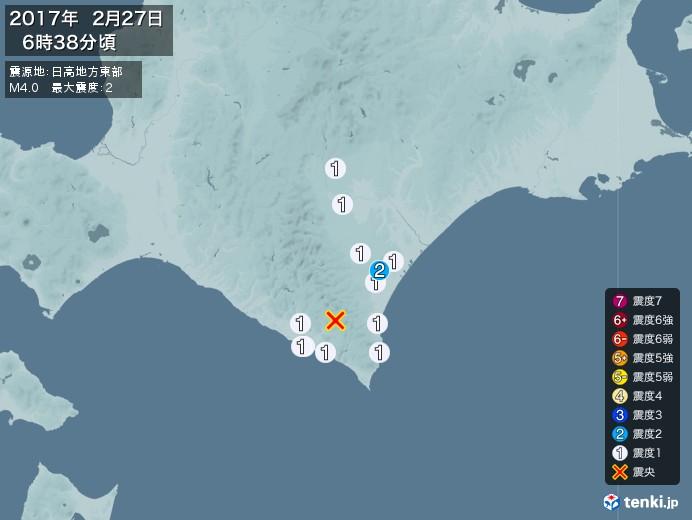 地震情報(2017年02月27日06時38分発生)