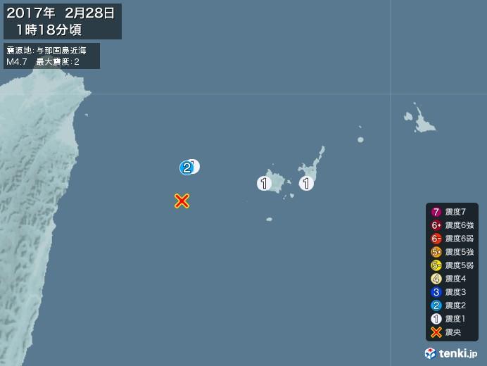 地震情報(2017年02月28日01時18分発生)