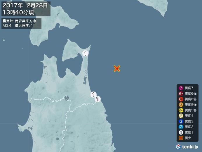 地震情報(2017年02月28日13時40分発生)