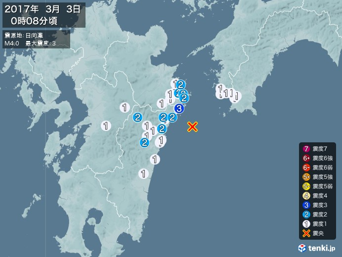 地震情報(2017年03月03日00時08分発生)