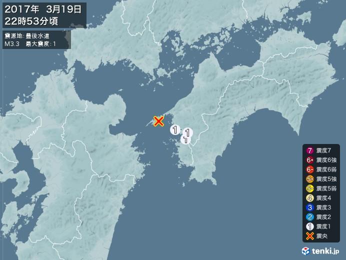 地震情報(2017年03月19日22時53分発生)