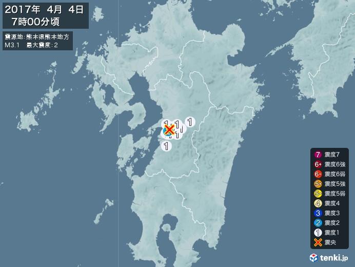地震情報(2017年04月04日07時00分発生)