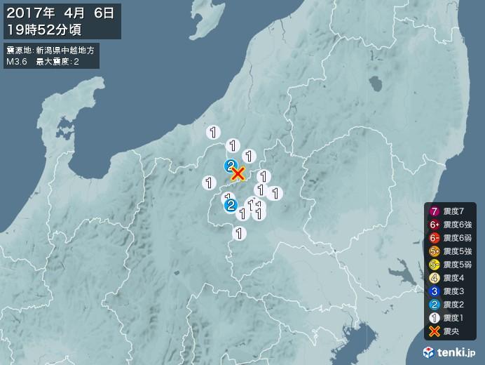地震情報(2017年04月06日19時52分発生)