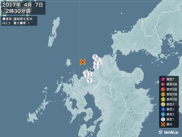 地震情報(2017年04月07日02時30分発生)