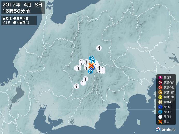地震情報(2017年04月08日16時50分発生)