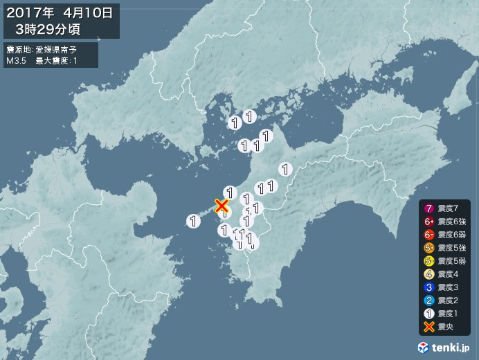 地震情報(2017年04月10日03時29分発生)