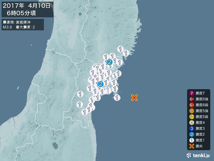 地震情報(2017年04月10日06時05分発生)