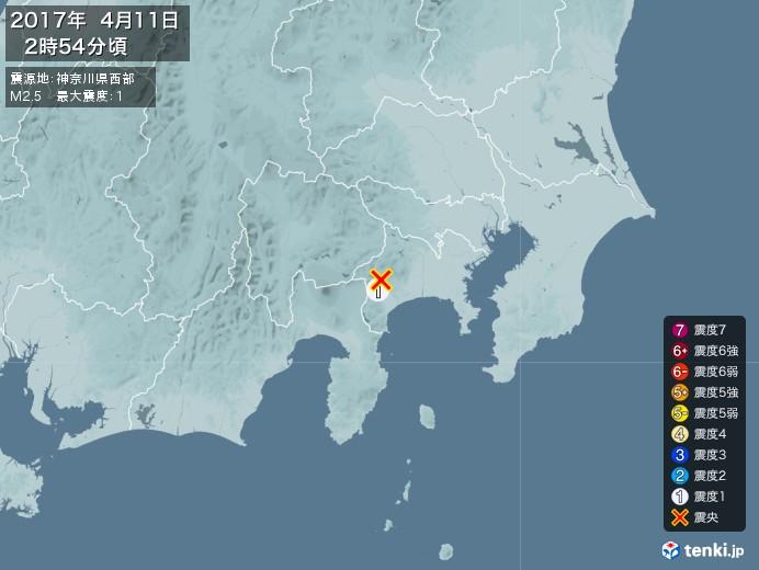 地震情報(2017年04月11日02時54分発生)