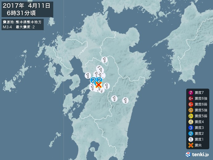 地震情報(2017年04月11日06時31分発生)