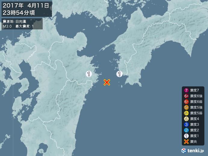 地震情報(2017年04月11日23時54分発生)