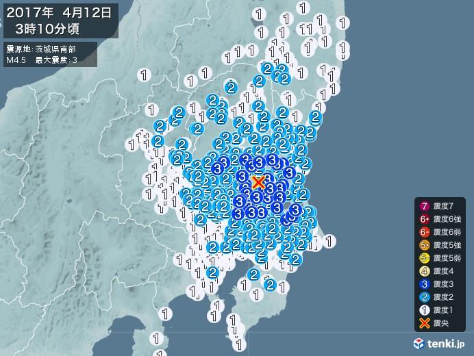 地震情報(2017年04月12日03時10分発生)