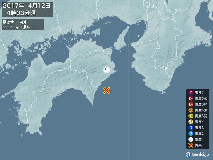 地震情報(2017年04月12日04時03分発生)